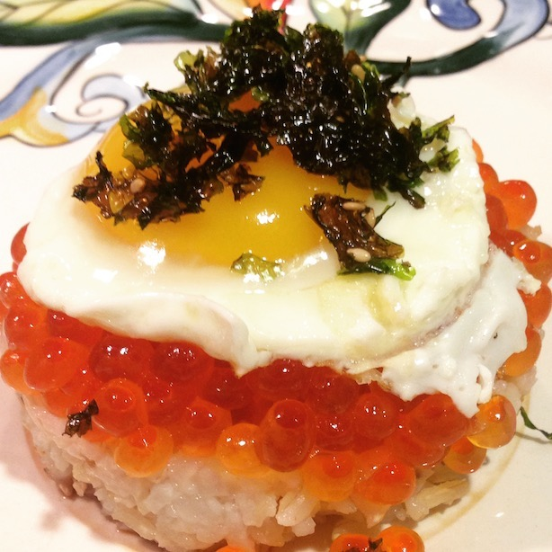 salmon roe (ikura), fried egg on rice